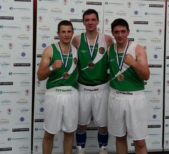 Haringey medallists Diego Capocci, Ryan Dervan and Eamon Tighe
